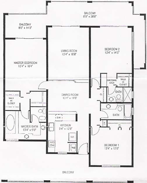 Pelican cove beach condos floor plan for Condo blueprints